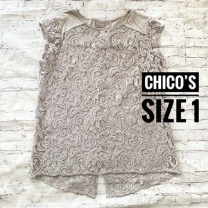 Chico's Cap Sleeve Mushroom Color Lace Blouse